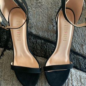 Sexy black suede fashion nova heels